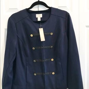 Chico's NWT Navy with Gold Military Style Blazer